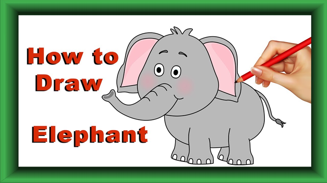 Step By Step How To Draw And Color Elephant For Kids Simple