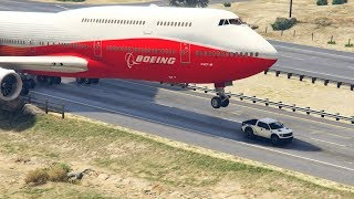 "Giant Air Plane ""Emergency Landing"" on Highway -- Two Engines Failed -- ( GTA 5 Crazy Moments)"