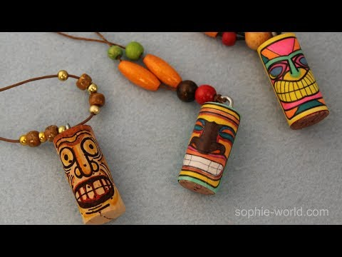How to Make a Tiki Necklace from a Recycled Cork | Sophie's World