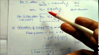 Calculation Of Bohr's radius,velocity and Energy:Lecture Note 17 Class XI Chemistry