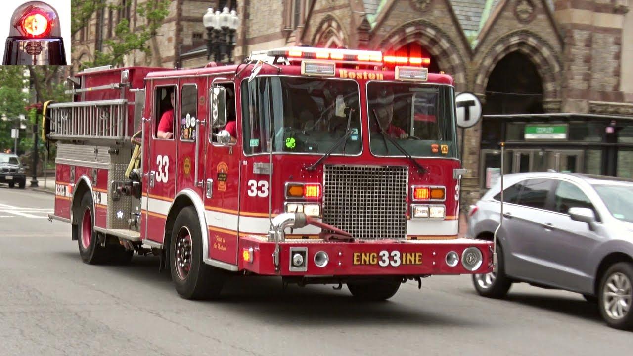 Boston Fire Engine 33 Responding Lights and Sirens