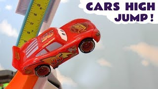 Disney Cars Toys McQueen high jump challenge with Avengers Iron Man Hulk and the funny Funlings TT4U