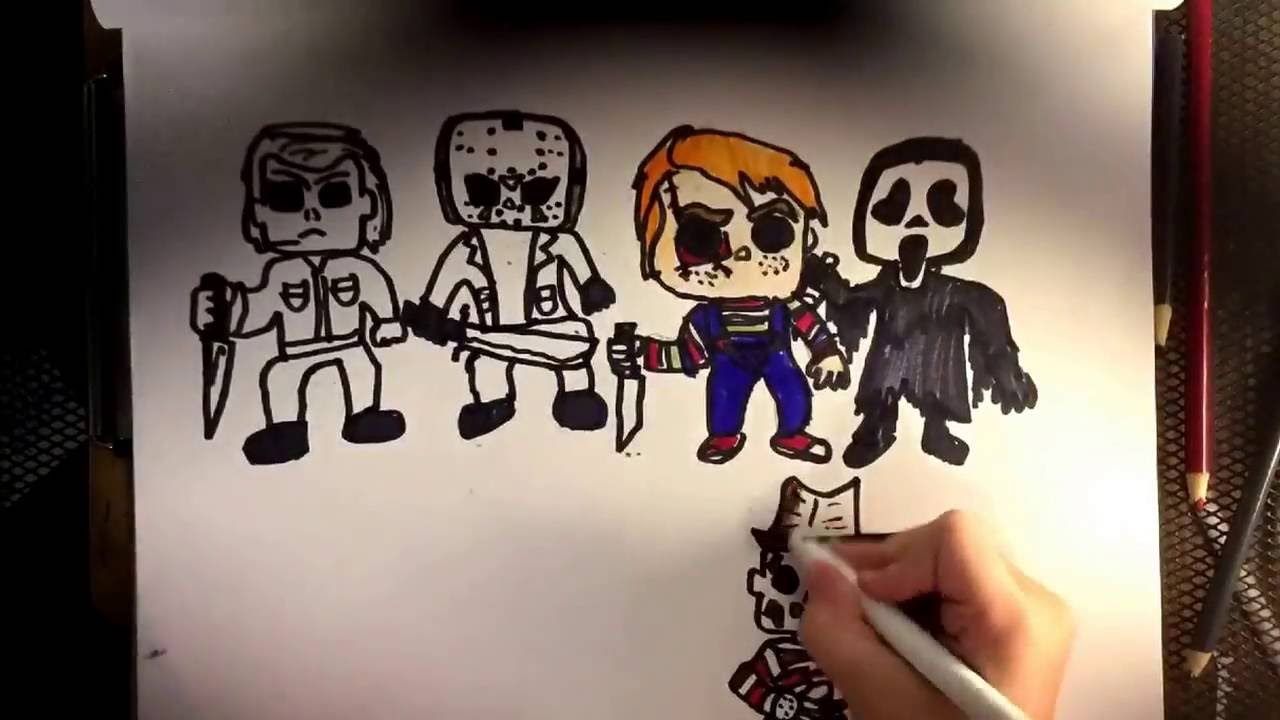 Drawing Chibi Jason Voorhees Michael Myers ChuckyGhost Face And Freddy Krueger