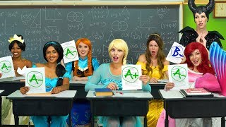 BACK TO SCHOOL WITH DISNEY PRINCESSES. (Elsa and Anna, Ariel, Belle, Tiana and Maleficent) 2019