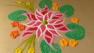 colourfiul flower rangoli design for everyday by Bucketful creation