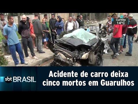 Acidente de carro deixa cinco mortos em Guarulhos, na Grande SP | SBT Brasil (18/08/18)