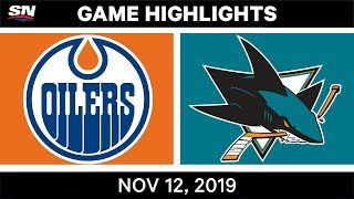 NHL Highlights   Oilers vs Sharks – Nov. 12, 2019