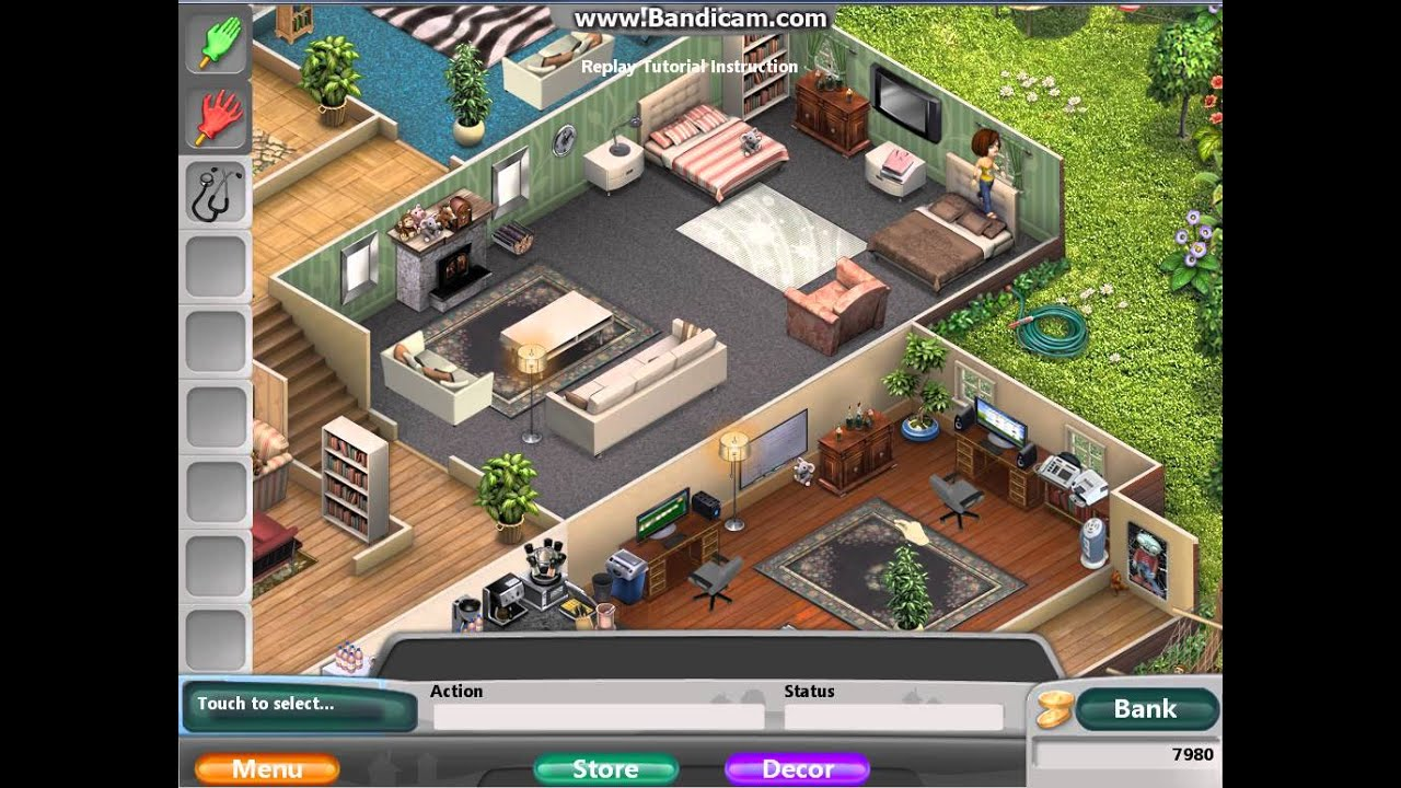 Virtual families 2 completed house with all females youtube for Virtual families 2 decoration
