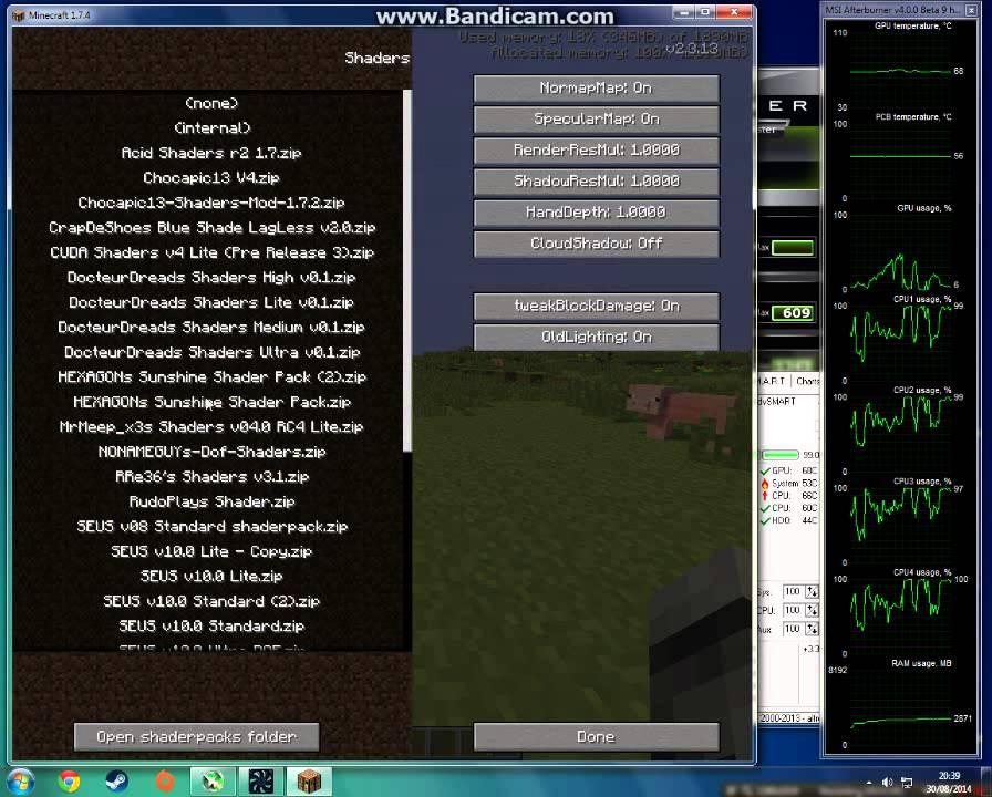 Minecraft 0% GPU when usage using high quality shaders