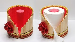 Tempat tisu dari Stik Es Krim ! Ide kreatif Stik Es Krim   Popsicle stick   Tissue Box   ice cream