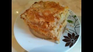 Шикарный яблочный пирог без замеса тесто.