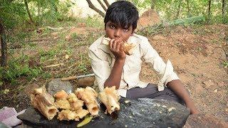Indian Style Cooking Beef Leg Bone And Eating Beef Leg Bone Marrow