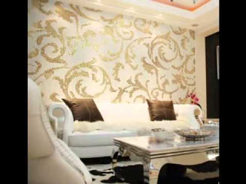 Modern wallpaper design ideas for living room youtube for Living room wallpaper design