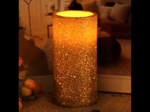 Flameless Real Wax Pilliar Led Candle With Timer,Embossed Gold Pearl; flameless timer candles