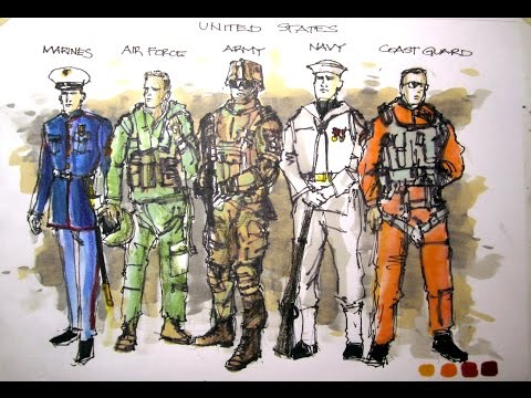 MIlitary Series:  U.S. Armed Forces - All Who Served Time Lapse Drawing