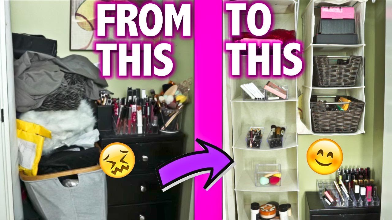 organizing my makeup closet cheaply storage ideas maidmax dollar tree popluxe youtube. Black Bedroom Furniture Sets. Home Design Ideas