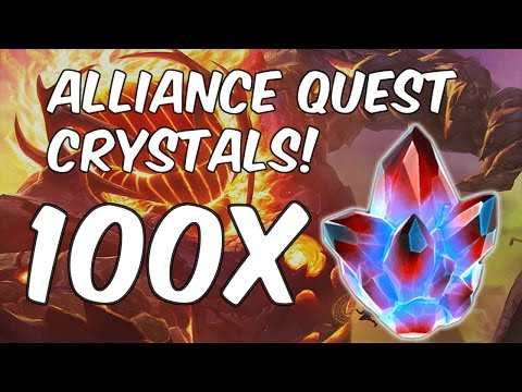 100x Alliance Quest Crystal Opening! - Tier 4 Class Catalyst Hunt - Marvel Contest Of Champions