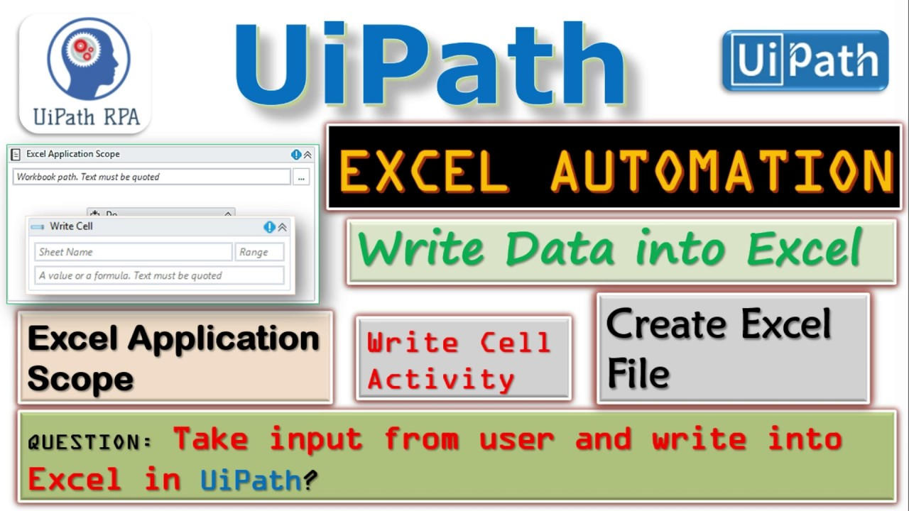 UiPath-Write Data to Excel File|Excel Automation|UiPath RPA Tutorial