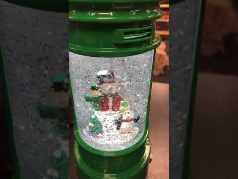 LED Swirling glitter snowman in Irish post box