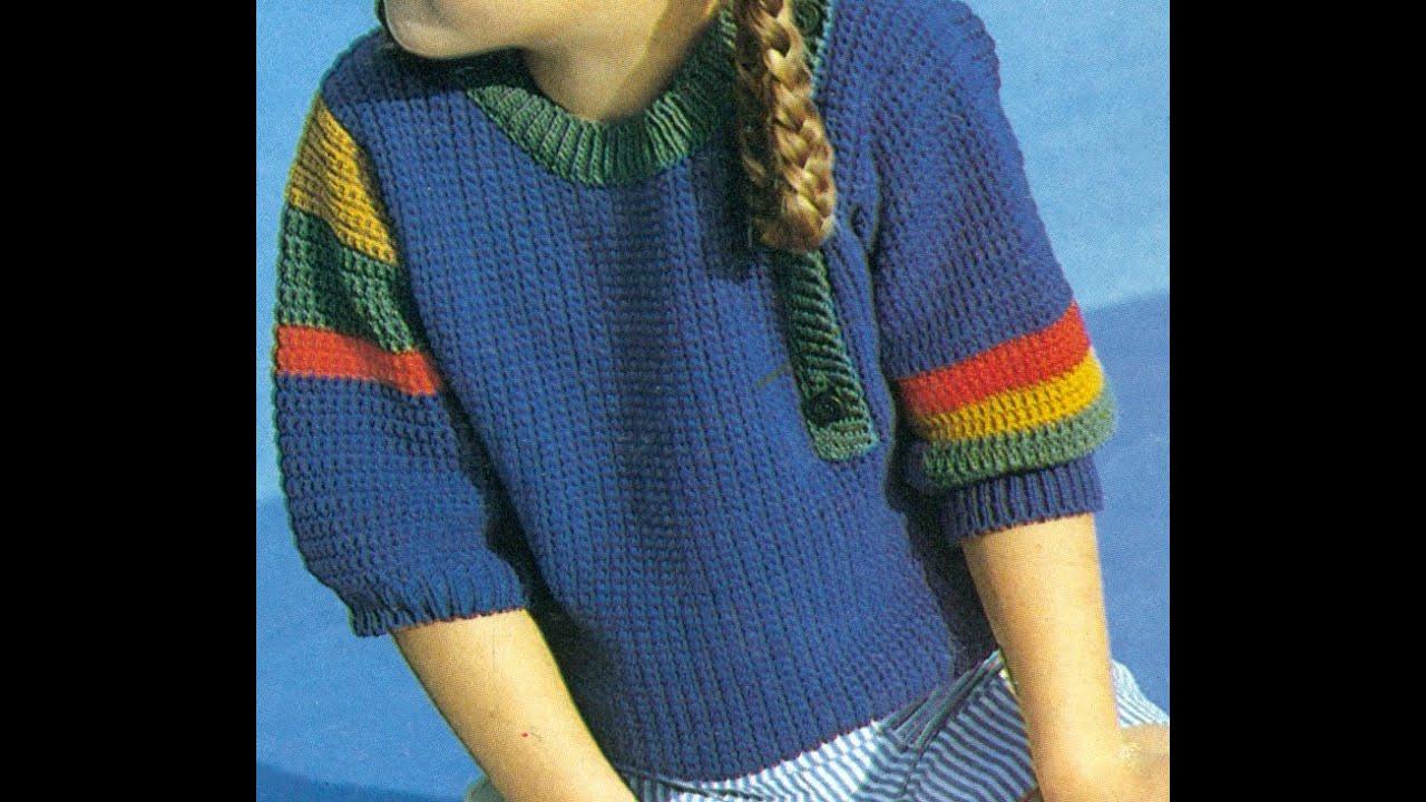 Patrón Para tejer Suéter Para Niña Tipo Polo a Crochet - YouTube