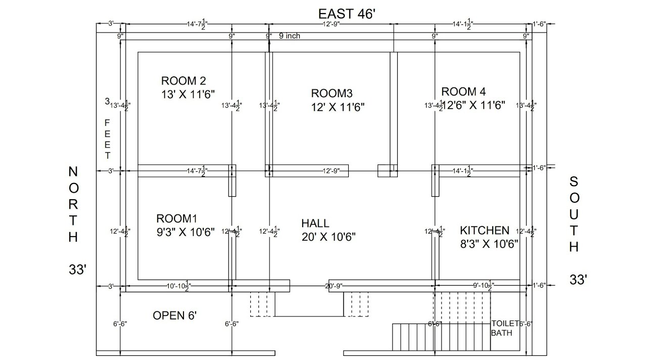 46  U00d7 33 West Face House Village Plan With Centre Line
