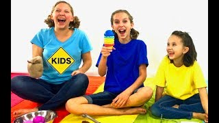 Pretend Play Ice Cream Challenge with Sign Post Kids! Learn English Words! Colors!