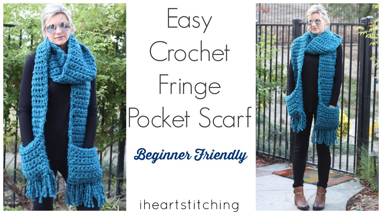 Free Crochet Pattern Pocket Scarf : Easy Crochet Pocket Fringe Scarf - YouTube
