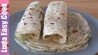 СЛОЕНЫЕ ЛЕПЕШКИ НА ВОДЕ С ЗЕЛЕНЬЮ на СКОВОРОДЕ Очень Тонкие и Вкусные | Green Onion Flatbread Recipe