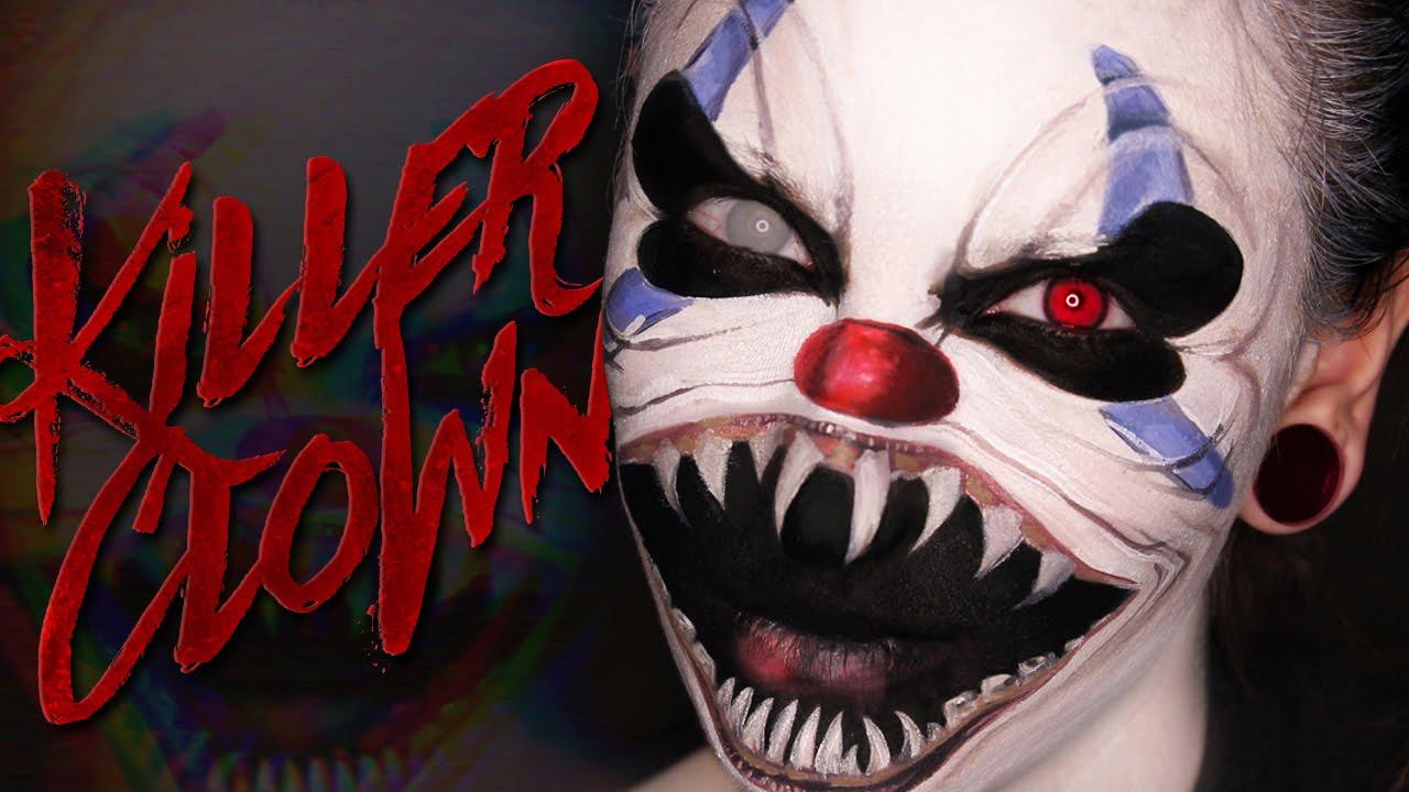 Scary Killer Clown Halloween Makeup Tutorial - YouTube
