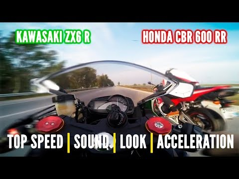 Honda CBR 600 RR Vs  Kwasaki ZX6R - Onboard, Exhaust Sounds, Top Speed  & More...