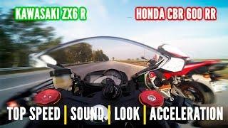 Honda CBR 600 RR vs  Kwasaki ZX6R - Onboard, exhaust sounds, top speed  & more...