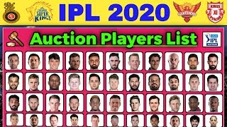 IPL 2020 Auction - List of All 332 Players for Vivo IPL 2020 Auction