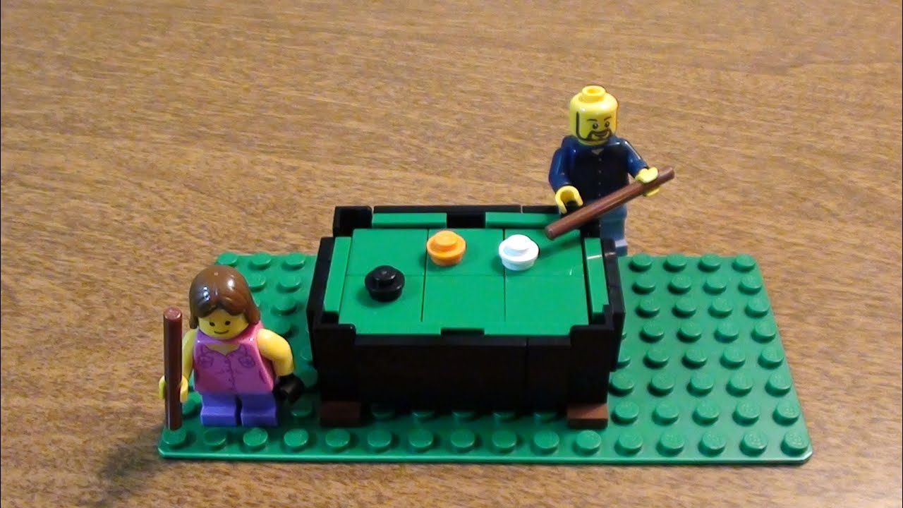 Lego tutorial how to make a pool table youtube for How to build a billiard table