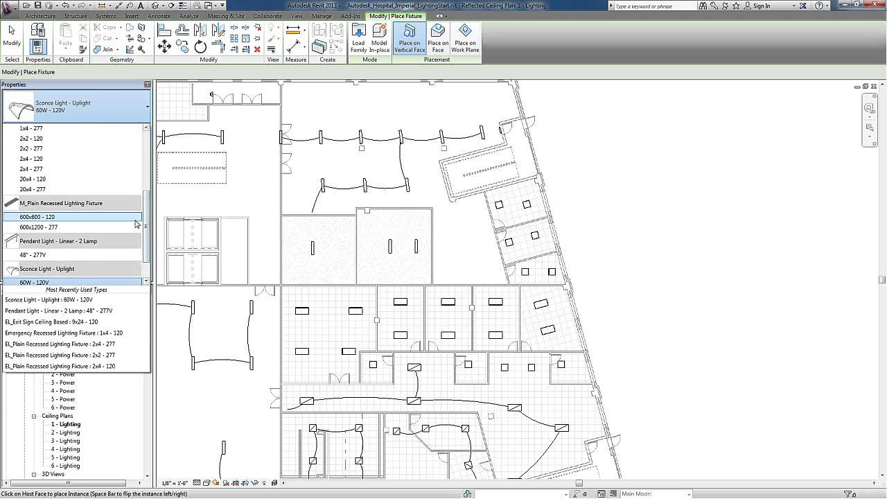 Revit for MEP - Electrical Lighting Systems - Adding Light Fixtures ...