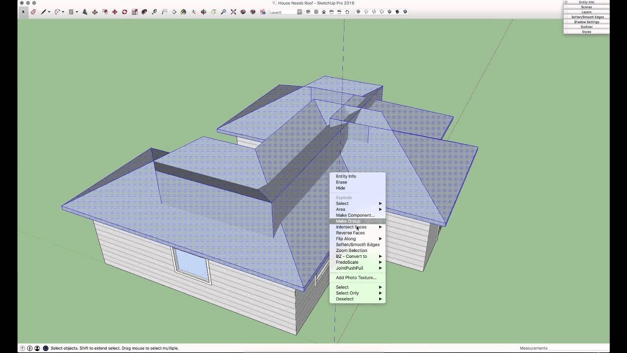 Sketchup Skill Builder Hip Roof Youtube