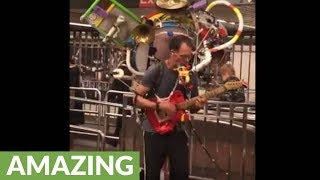 Epic one man band spotted in NYC subway