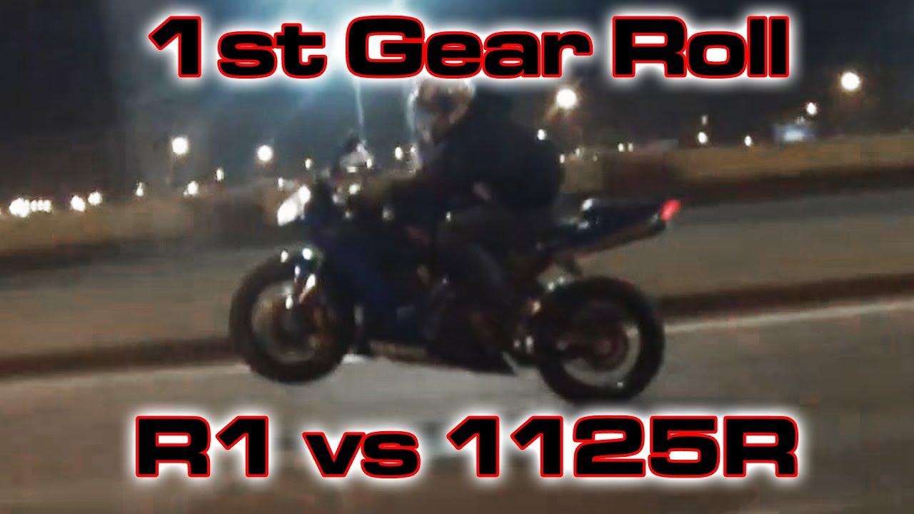 1125R vs Yamaha R1 - 1st Gear Roll
