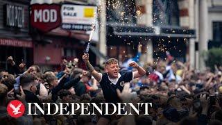 Live: Fans arrive at Wembley Stadium for England v Scotland match