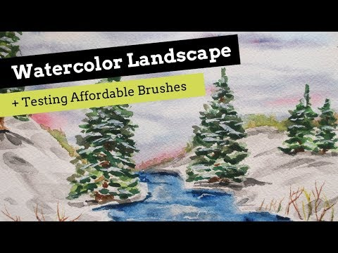 Watercolor Landscape Process and Testing Affordable Brushes