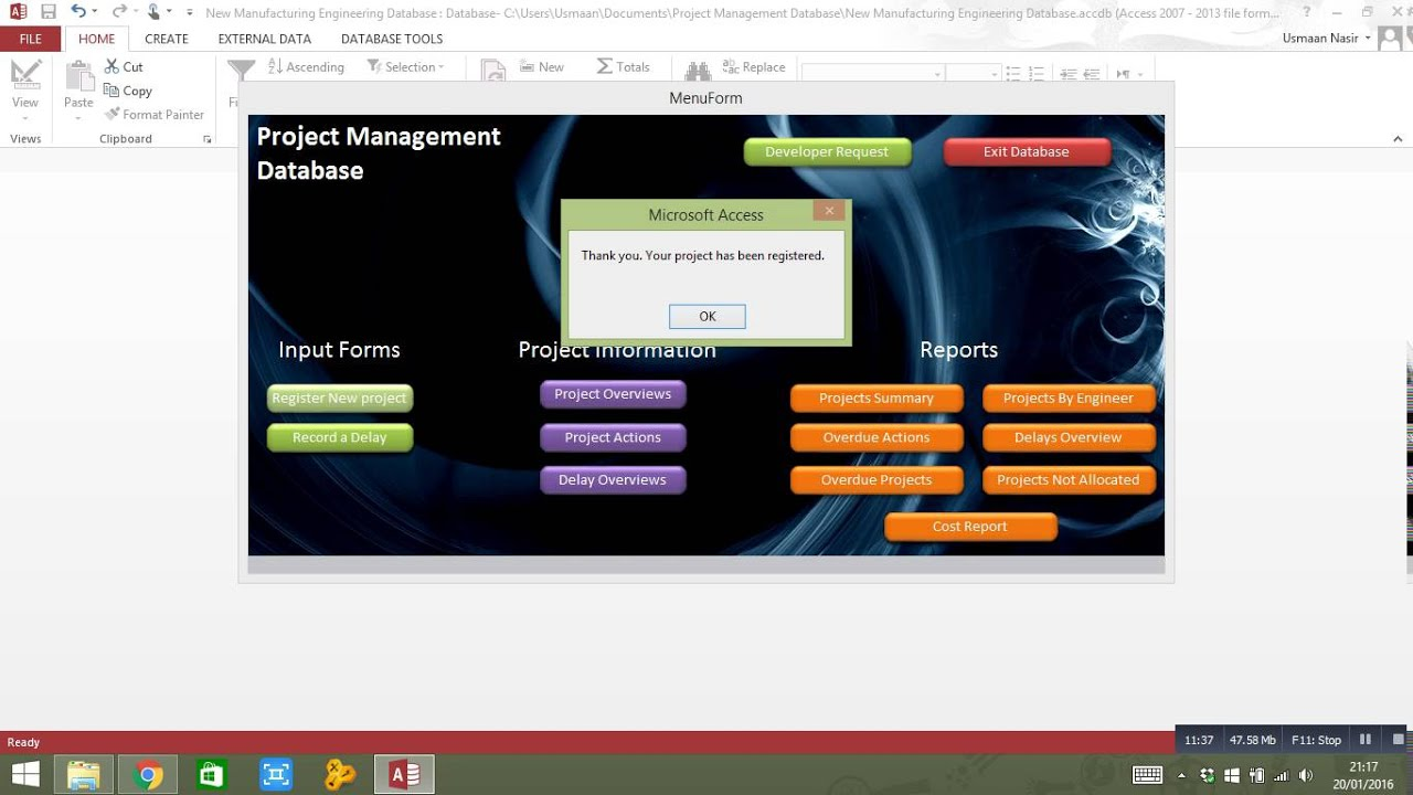 Microsoft Access Project Management Database - YouTube