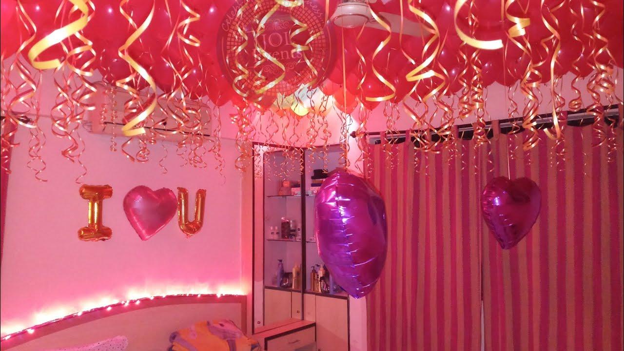 Birthday Room Decoration Ideas At Home Anniversary Surprise Balloon Decoration Romantic Decor Youtube
