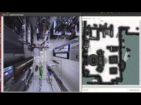 Human-Aware Navigation using External Omnidirectional Cameras - Experiment 3 (Realistic Scenario)