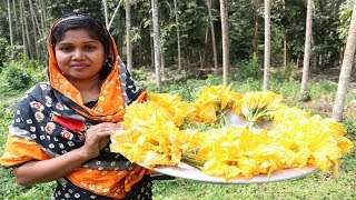 Village Food || Egg and Pumpkin Flower Fry So Yummy || Pumpkin Flower and Egg Popular Bengali Snacks