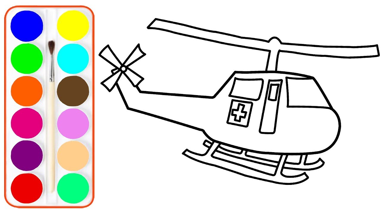 How To Draw Ambulance Helicopter Coloring Pages For Kids Coloring Book For Children Learn Color