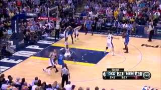 kendrick perkins sits on mike miller 2014 nba playoffs game