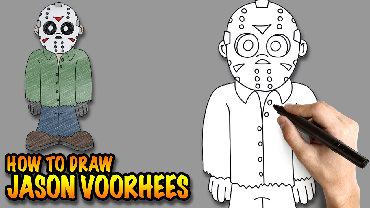 How To Draw Jason Voorhees  Easy Stepbystep Drawing Lessons