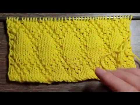 Красивый легкий узор спицами Ромбы / Мастер-класс / уроки вязания / Knitting