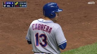 NYM@MIL: Cabrera crosses plate on unusual forceout