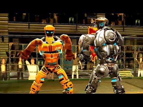 REAL STEEL WRB Atom Gold VS Fat Boy & Zeus & Atom & Bio War