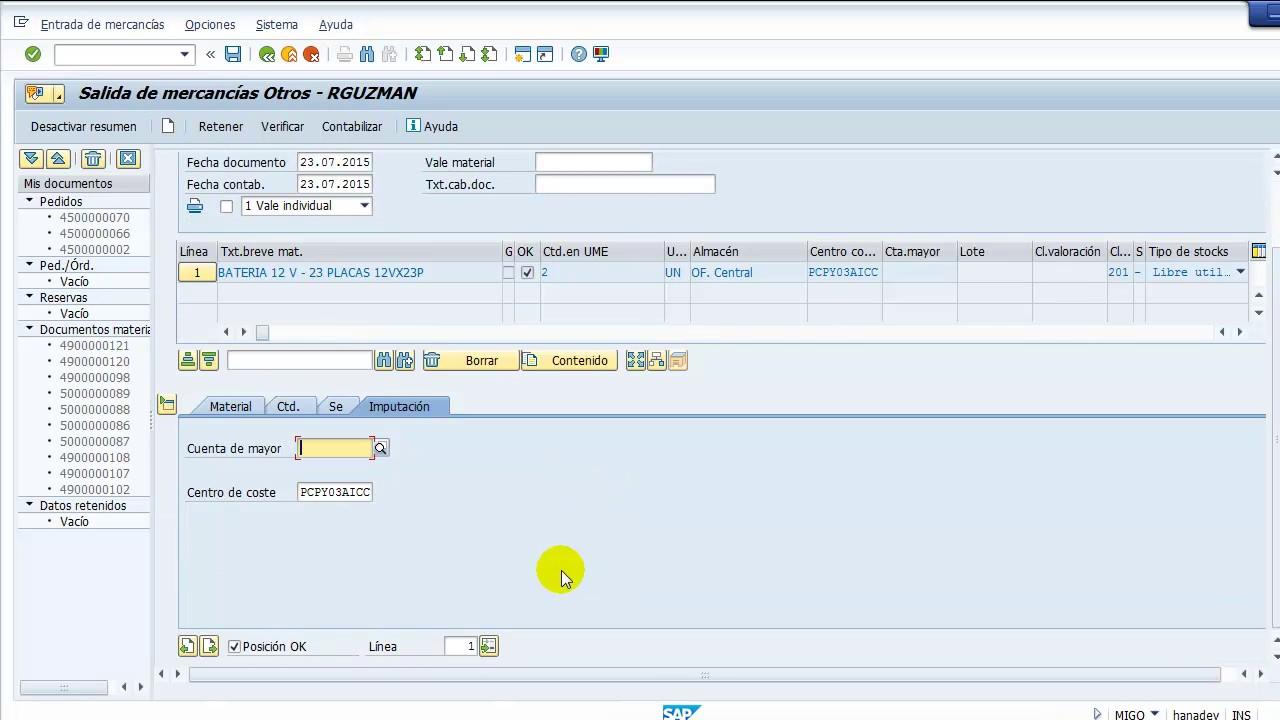 Inventario SAP MI01, MI04, MI07